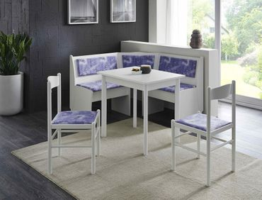 Eckbankgruppe Babsi 3 weiß 2x Stuhl Vierfußtisch Truheneckbank