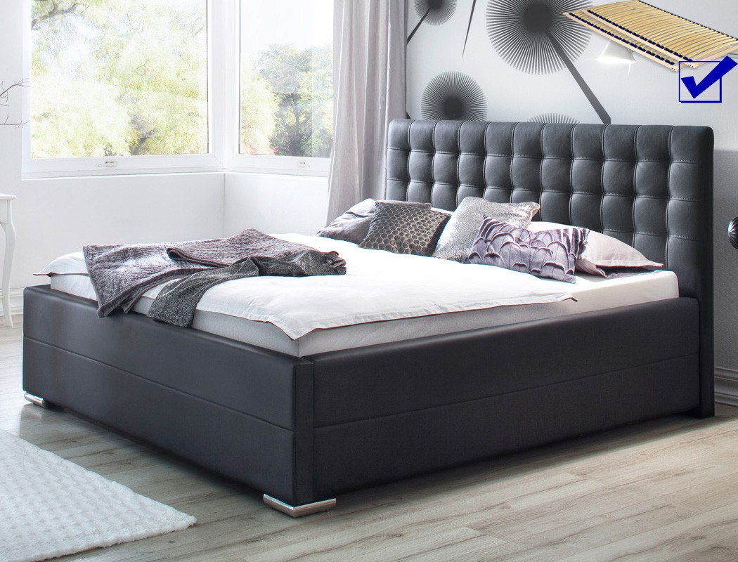 polsterbett toni 180x200 kunstleder schwarz bettkasten lattenrost bett wohnbereiche schlafzimmer. Black Bedroom Furniture Sets. Home Design Ideas