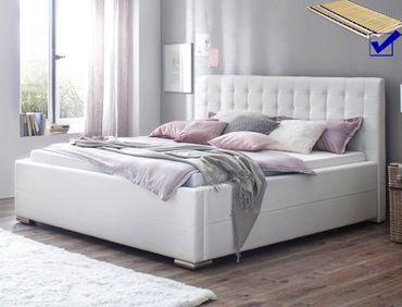 Metallbett weiß 180x200  Polsterbett Toni 180x200 Kunstleder weiß Bettkasten Lattenrost Bett ...