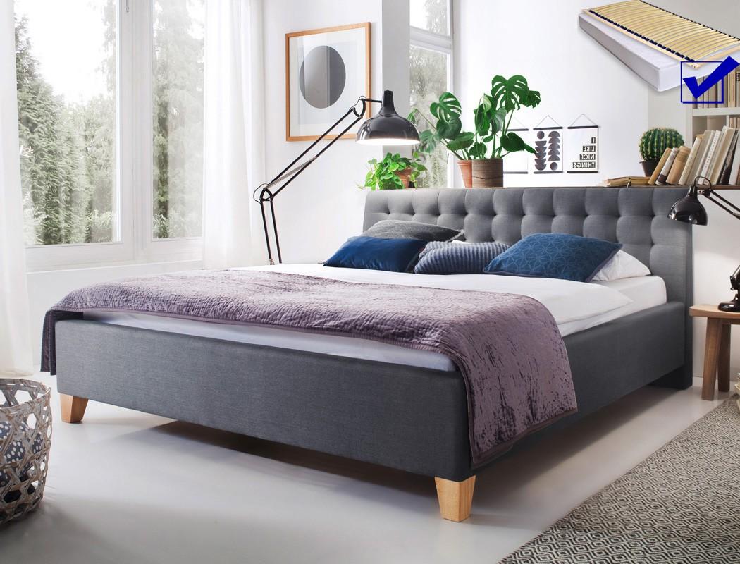 Polsterbett luke 140x200 grau singlebett jugendbett rost - Schlafzimmer komplett 140x200 ...