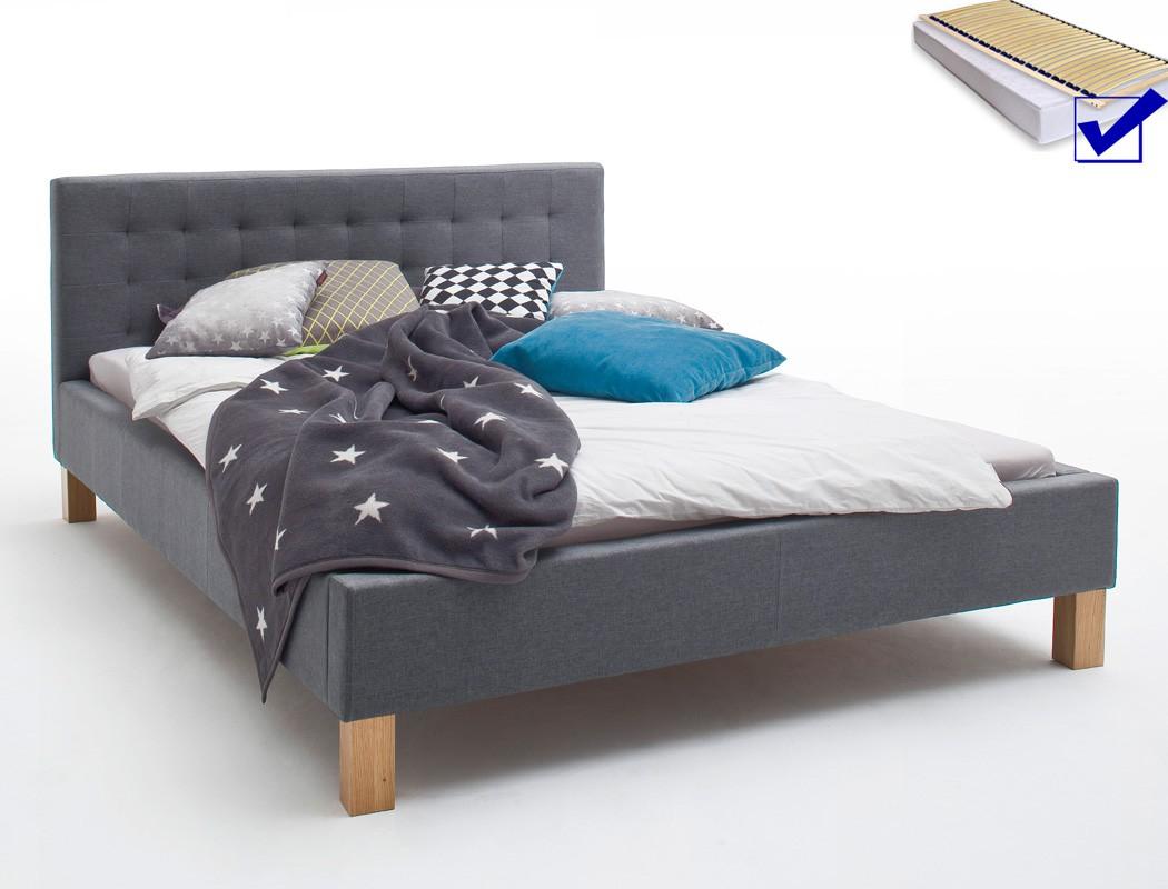polsterbett york 140x200 grau singlebett jugendbett rost. Black Bedroom Furniture Sets. Home Design Ideas
