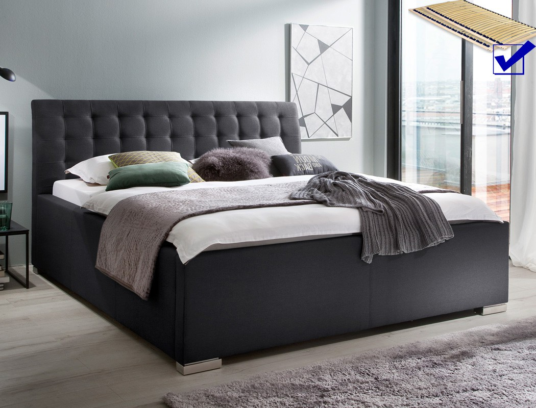 polsterbett mit bettkasten larissa 180x200 anthrazit doppelbett rost wohnbereiche schlafzimmer. Black Bedroom Furniture Sets. Home Design Ideas