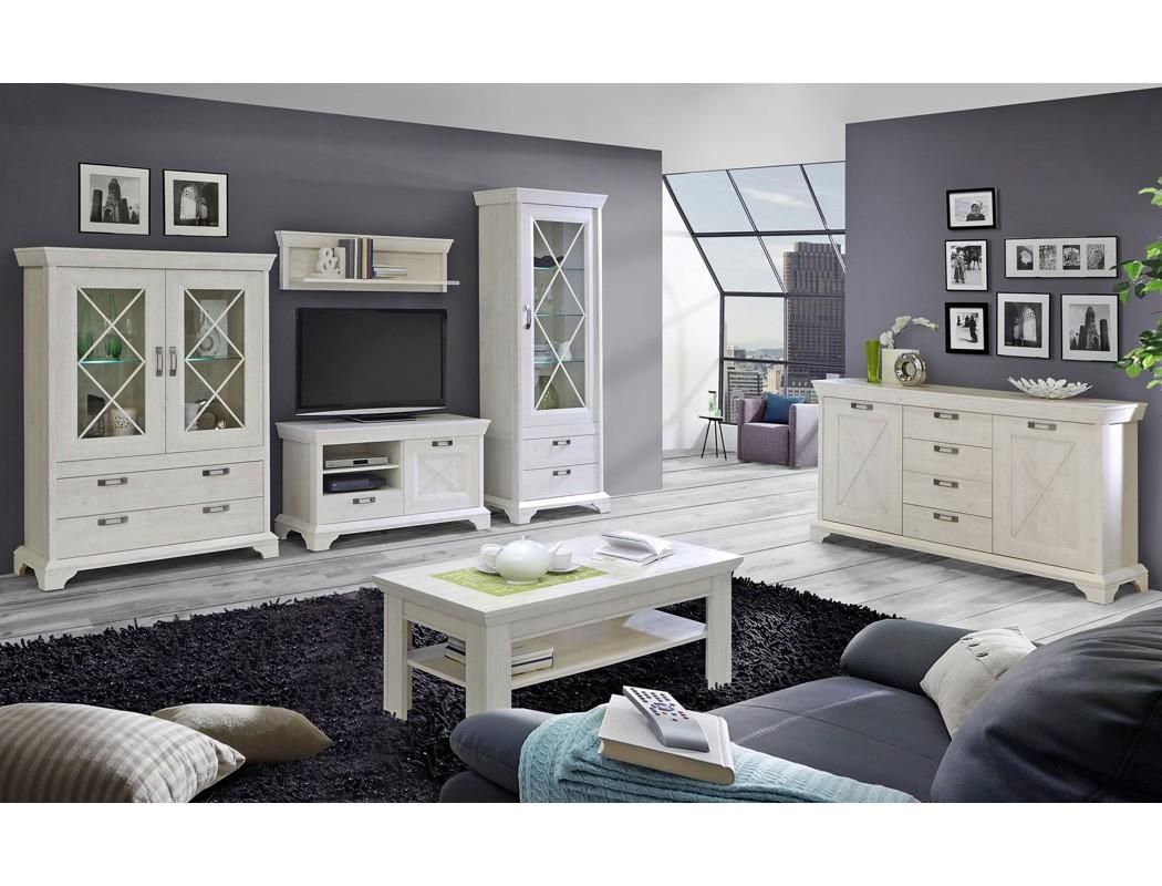 Wohnzimmer Kasimir 30 Pinie weiß 6-teilig LED-Beleuchtung ...