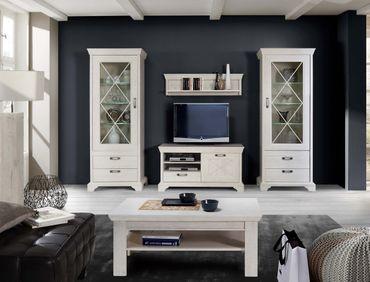 Wohnzimmer Kasimir 35 Pinie weiß 5-teilig LED-Beleuchtung Landhausstil