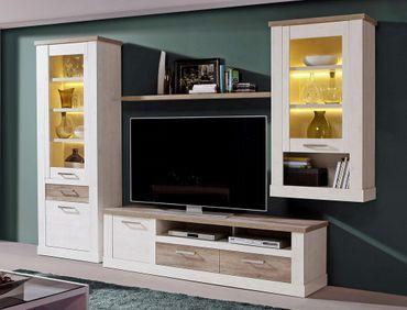 Lowboard Durio 12 Pinie weiß 179x52x52 cm TV-Board TV-Schrank TV-Möbel