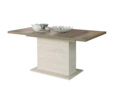 Säulentisch Durio 16 Pinie weiß 160(200)x90x77 cm Esszimmertisch Tisch