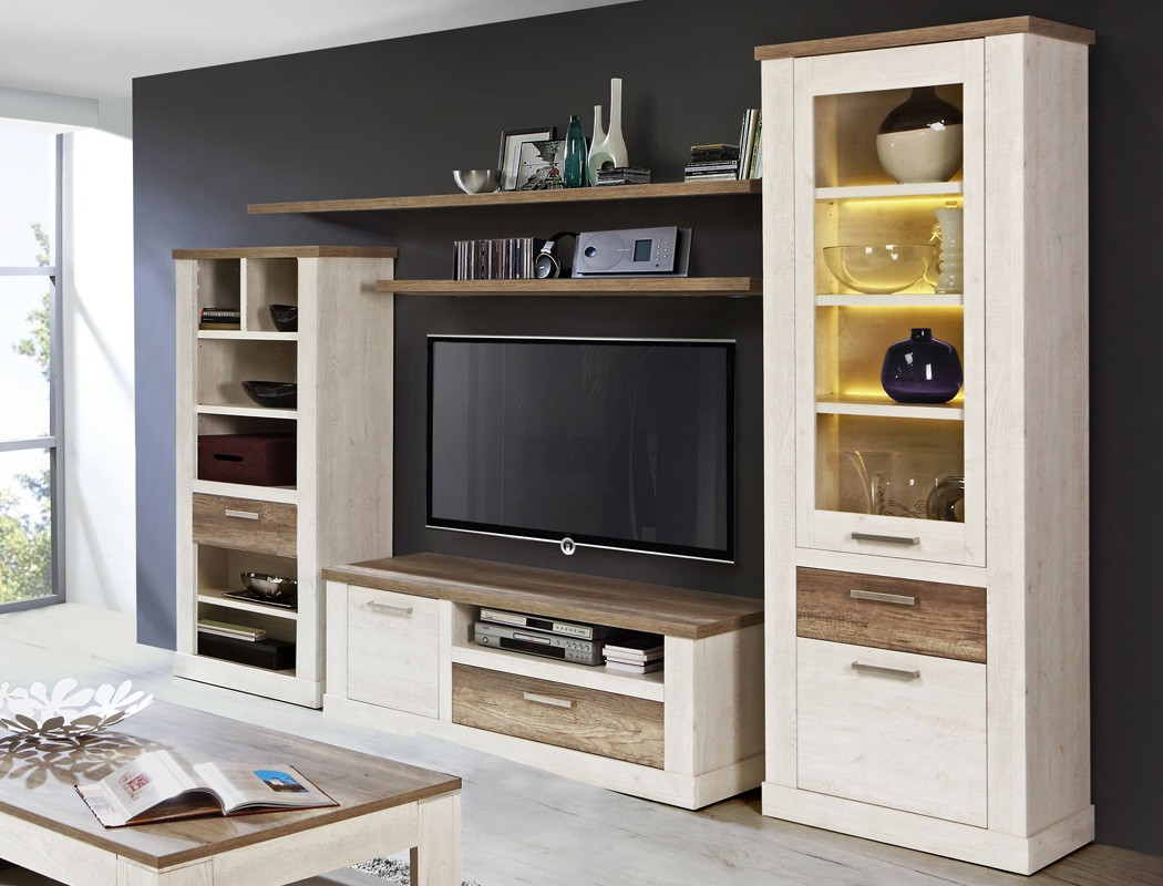 wohnwand durio 23 pinie wei 5 teilig vitrine lowboard 3x. Black Bedroom Furniture Sets. Home Design Ideas