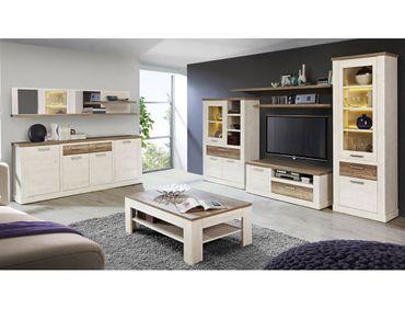 Wohnzimmer Durio 30 Pinie weiß 8-teilig Wohnwand Couchtisch Sideboard