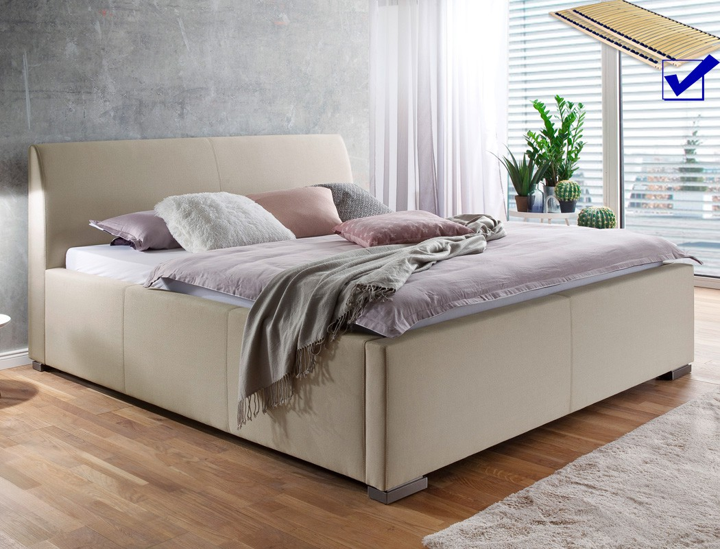 polsterbett mit bettkasten larissa 180x200 beige bett doppelbett rost wohnbereiche schlafzimmer. Black Bedroom Furniture Sets. Home Design Ideas