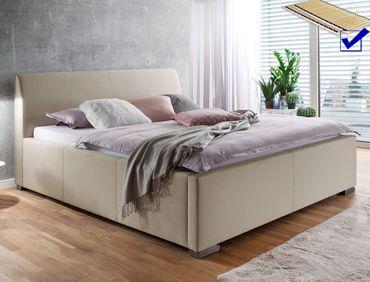 Polsterbett mit Bettkasten Larissa 180x200 beige Bett Doppelbett Rost
