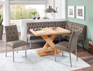 Eckbankgruppe Milan Honigeiche cappuccino 2x Stuhl Säulentisch 120 cm