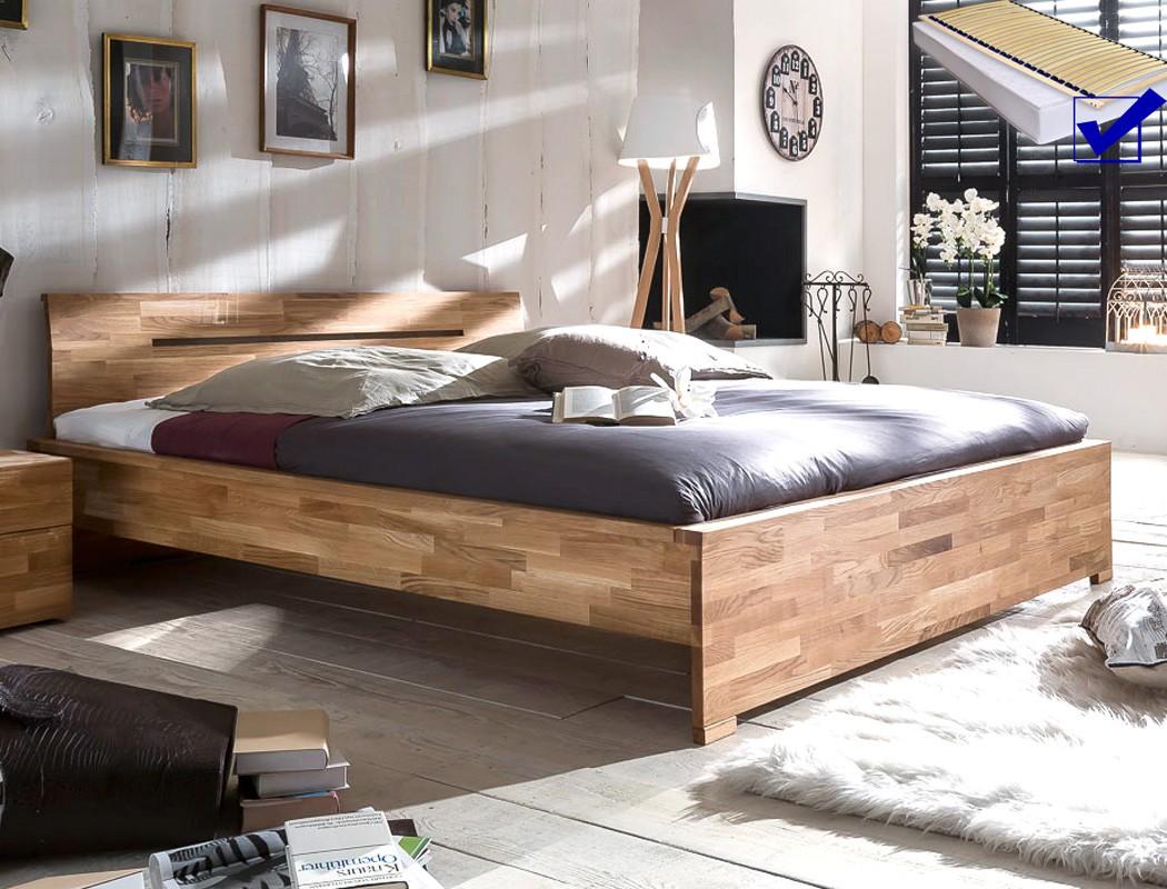 massivholzbett savin 140x200 wildeiche ge lt lattenrost matratze wohnbereiche schlafzimmer. Black Bedroom Furniture Sets. Home Design Ideas