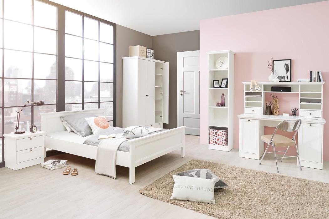 Jugendzimmer Weiss 5 Teilig Bett 90x200 Schrank Schreibtisch Regal