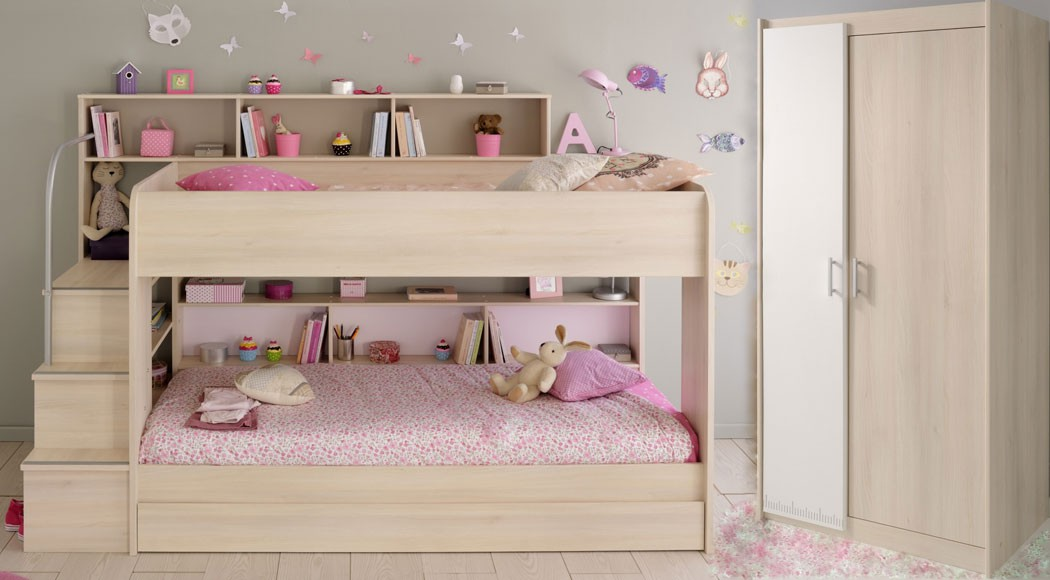 kinderzimmer twin 41 akazie etagenbett mit bettkasten kleiderschrank wohnbereiche kinder. Black Bedroom Furniture Sets. Home Design Ideas