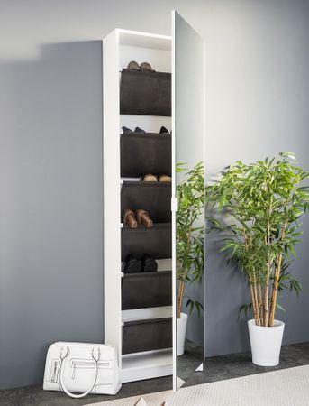 Schuhschrank Zino weiß 50x180x20 cm Spiegeltür Wandschuhschrank