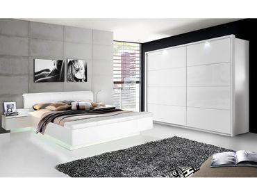 Schlafzimmer Sophie 20V weiß tlw. Hochglanz Doppelbett 2x Nako Schrank