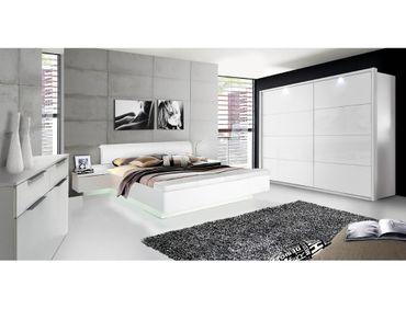 Schlafzimmer Sophie 21 weiß Hochglanz Bett 2x Nako Schrank Kommode