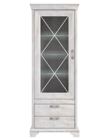Vitrine Kasimir 5 Pinie weiß 78x210x48 cm Glasvitrine LED-Beleuchtung
