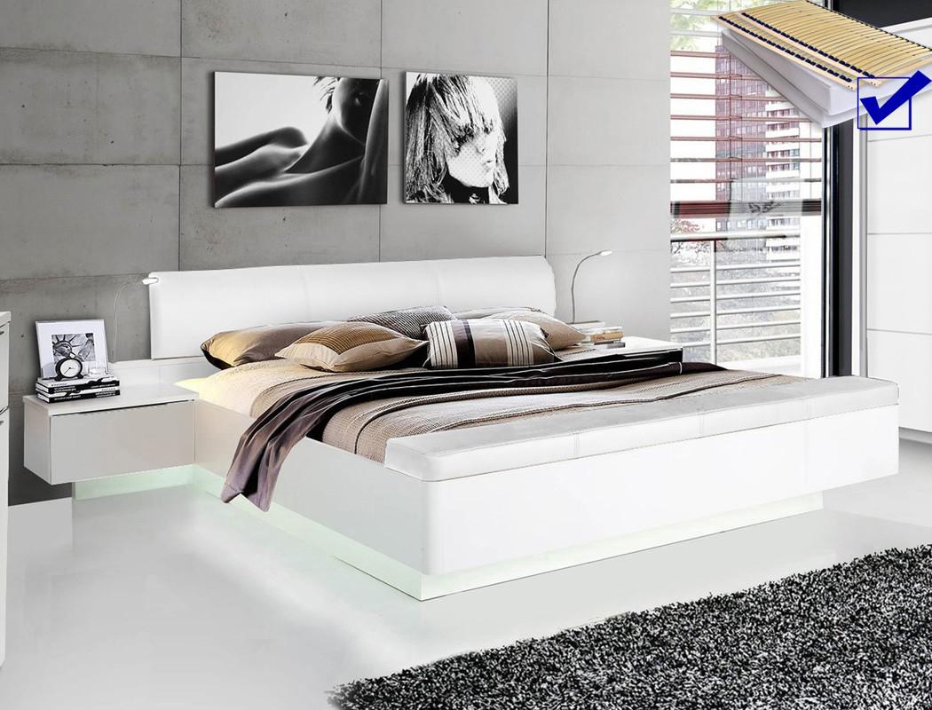 Doppelbett Sophie 1 Weiss 180x200 Ehebett Beleuchtung Rost Matratze