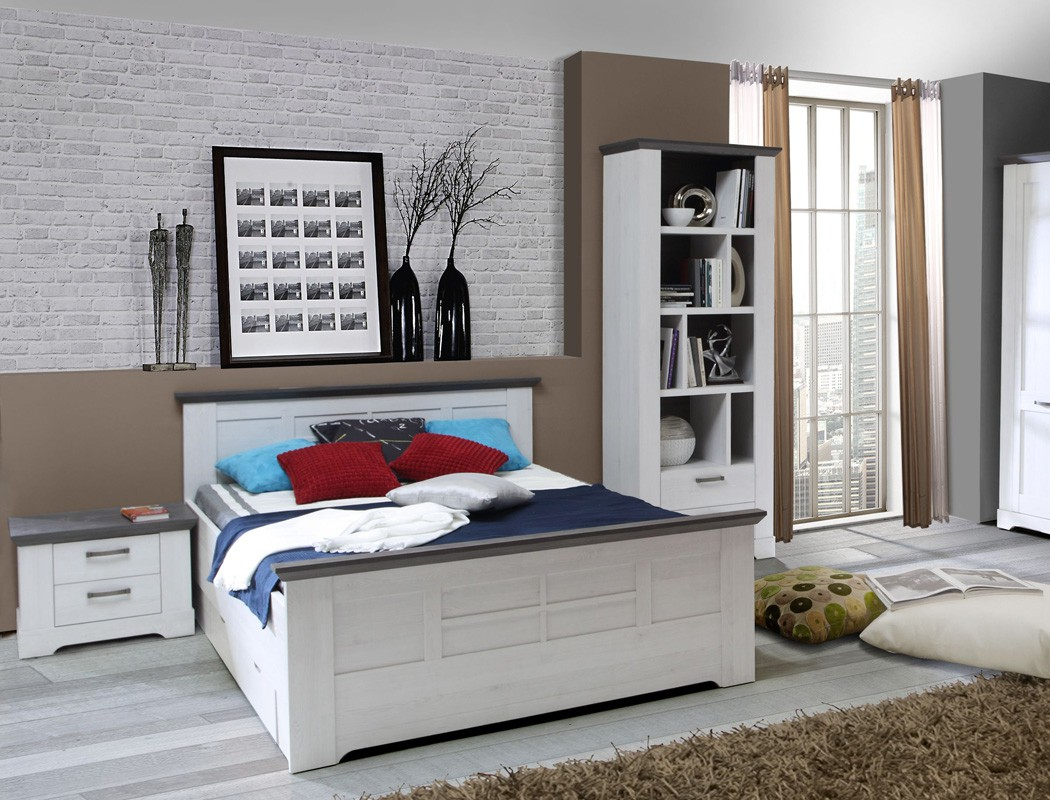 bett gaston 140x200 cm schneeeiche weiss grau komfortbett. Black Bedroom Furniture Sets. Home Design Ideas