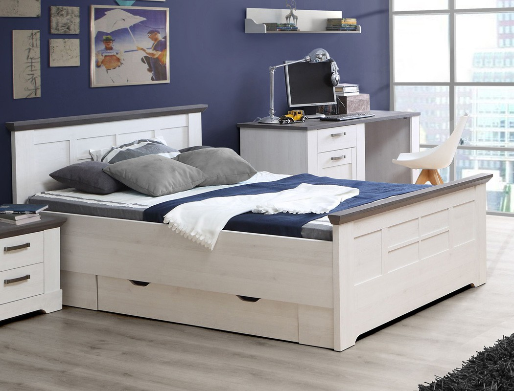 bett 140x200 wei grau 1x schubkasten jugendbett. Black Bedroom Furniture Sets. Home Design Ideas