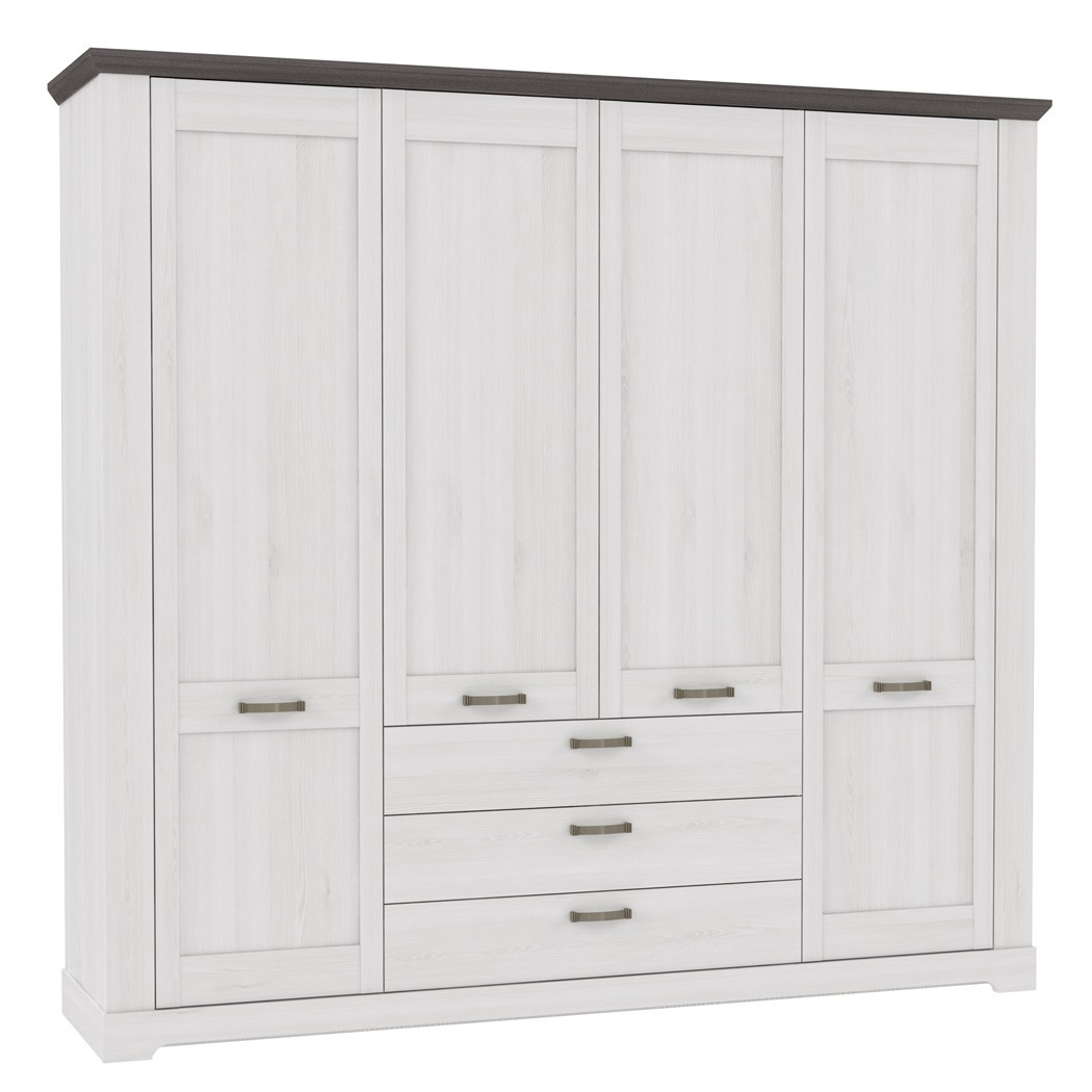 kleiderschrank gaston 2 weiss grau 225x210cm schneeeiche 4. Black Bedroom Furniture Sets. Home Design Ideas