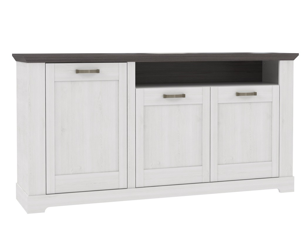 sideboard gaston 6 weiss grau 180x93 cm schneeeiche anrichte kommode wohnbereiche esszimmer. Black Bedroom Furniture Sets. Home Design Ideas