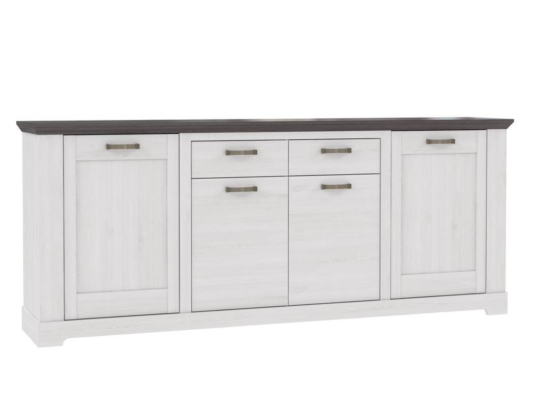 sideboard gaston 7 weiss grau 225x93 cm schneeeiche anrichte kommode wohnbereiche esszimmer. Black Bedroom Furniture Sets. Home Design Ideas