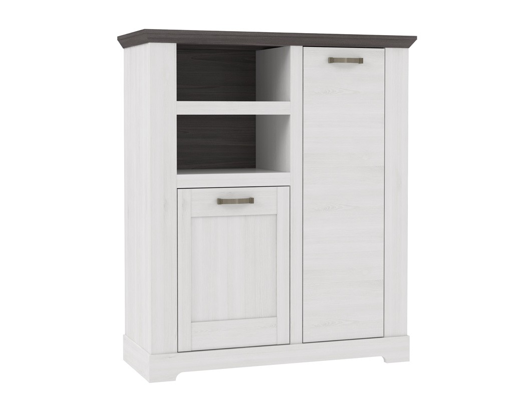 highboard gaston 8 weiss grau 110x130 cm schneeeiche. Black Bedroom Furniture Sets. Home Design Ideas