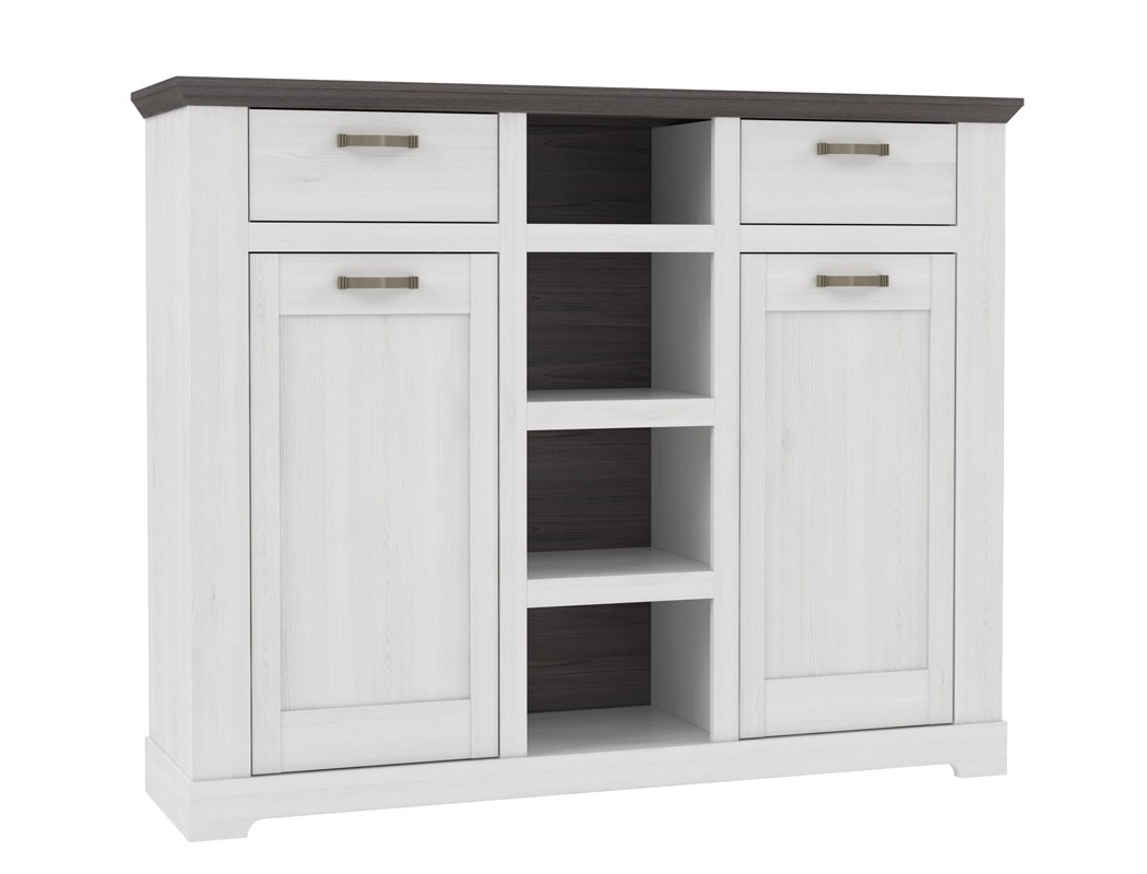 highboard gaston 9 weiss grau 162x130 cm schneeeiche. Black Bedroom Furniture Sets. Home Design Ideas