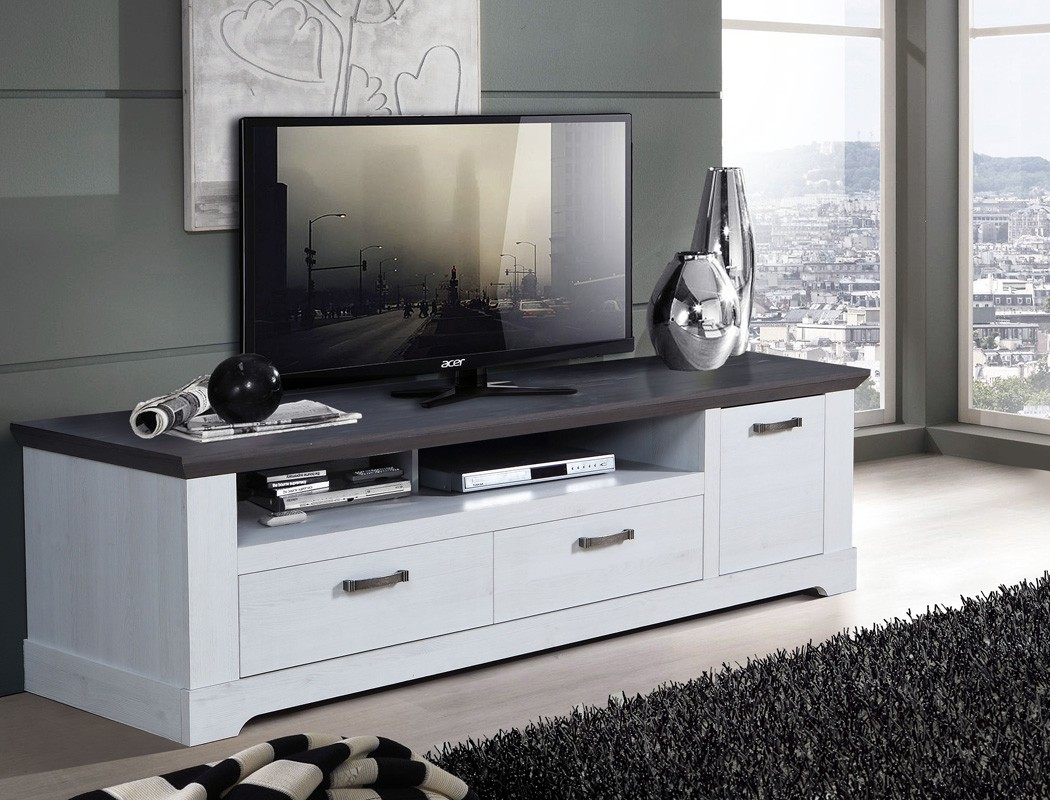 tv board gaston 26 weiss grau 185x54cm schneeeiche lowboard tv schrank wohnbereiche wohnzimmer. Black Bedroom Furniture Sets. Home Design Ideas