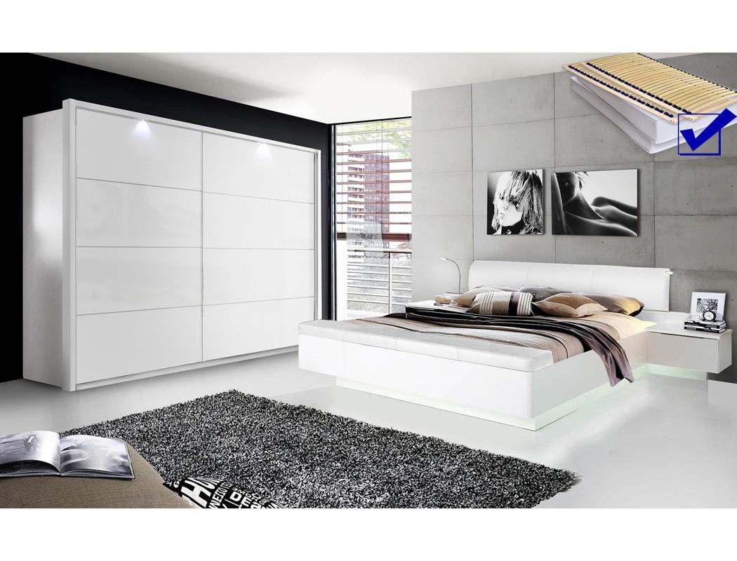 schlafzimmer sophie 20b wei hochglanz doppelbett komplett kleiderschrank led ebay