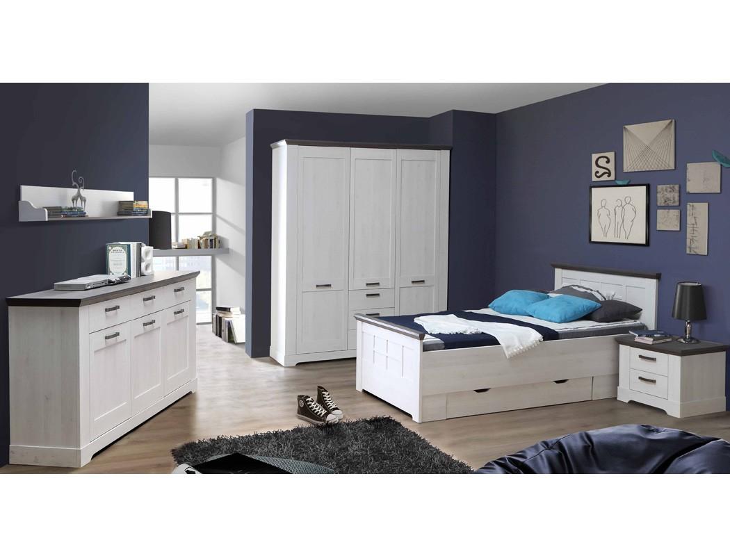 Schlafzimmer Weiß Grau 6 Teilig Jugendzimmer Seniorenzimmer Landhaus Gaston  61