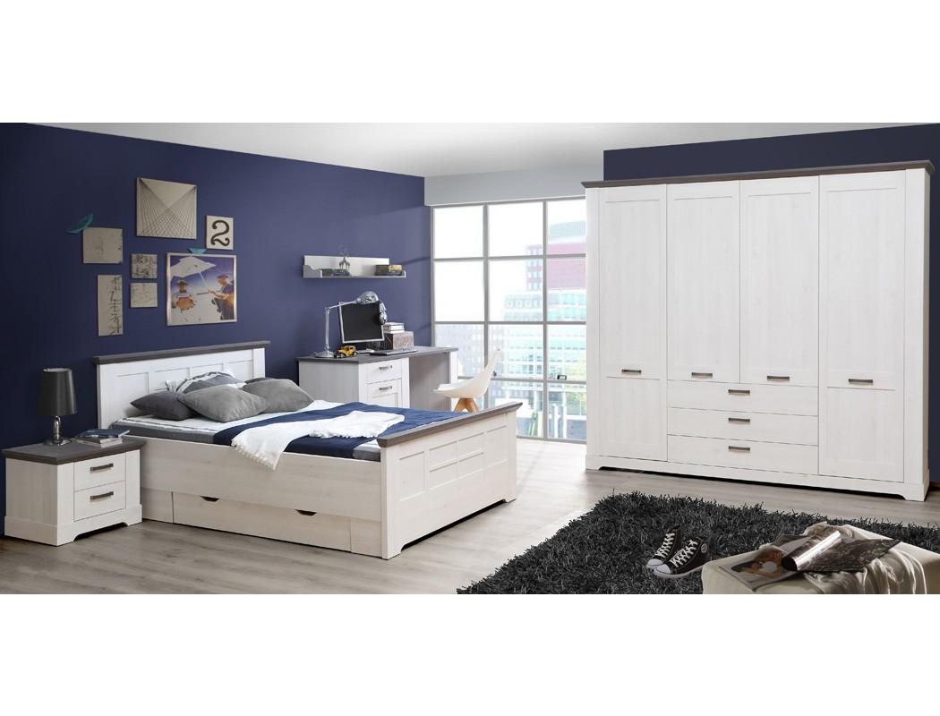 Schlafzimmer Gaston 64 Weiß Grau 6 Teilig Jugendzimmer Schneeeiche 001