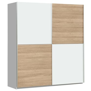 Schwebetürenschrank Wibold 1 weiß Sonoma Eiche 170x191x61 cm Schrank