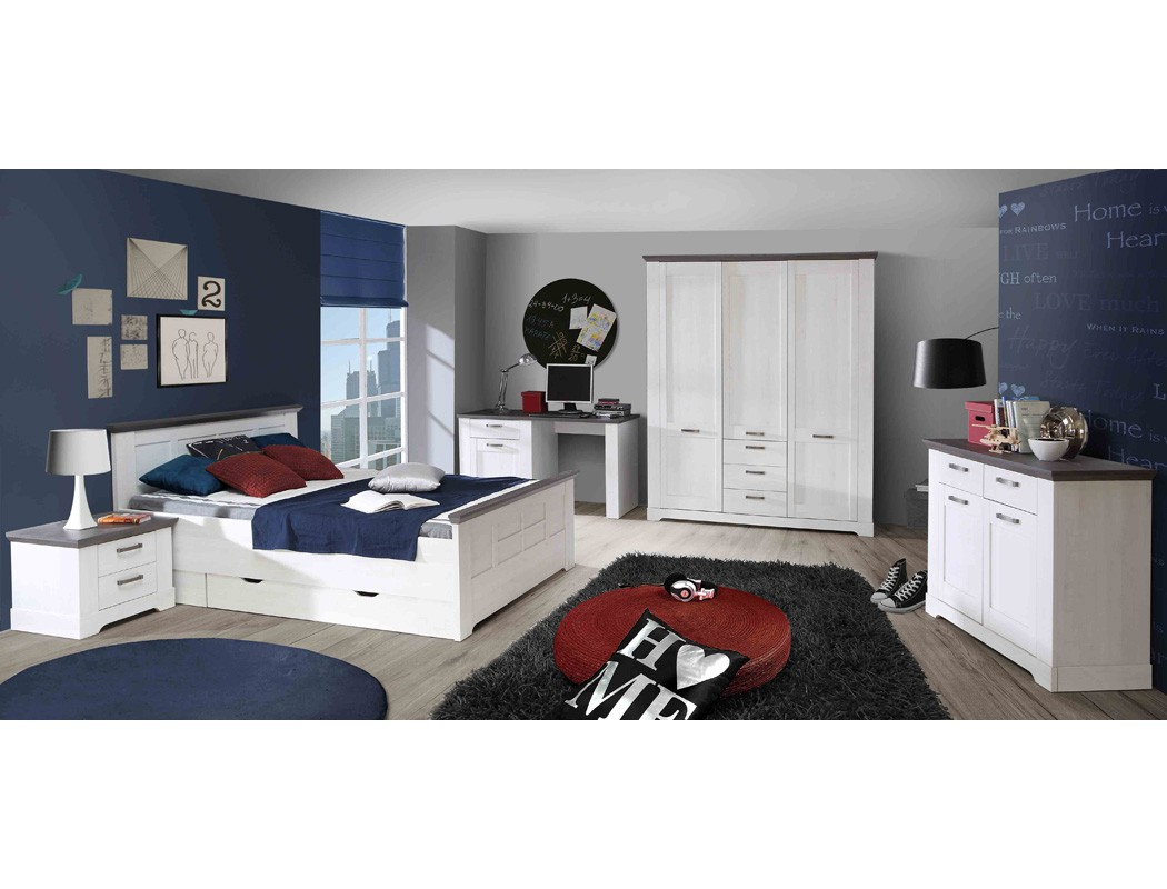 jugendzimmer gaston 66 wei grau 7 teilig schlafzimmer schneeeiche wohnbereiche schlafzimmer. Black Bedroom Furniture Sets. Home Design Ideas
