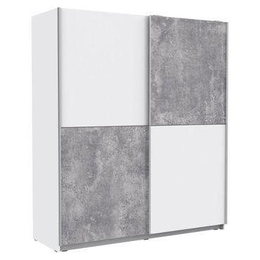 Schwebetürenschrank Wibold 4 weiß Betondekor 170x191x61 cm Schrank