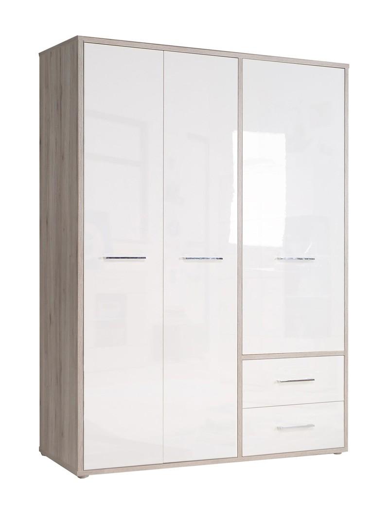 kleiderschrank jana 1 wei hochglanz sandeiche 147x202x60 cm schrank wohnbereiche schlafzimmer. Black Bedroom Furniture Sets. Home Design Ideas