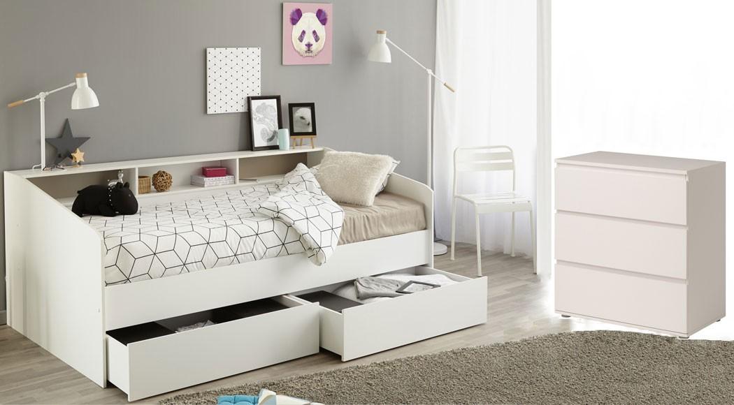 Jugendzimmer Selby 14 Weiss Bett 2x Bettkasten Schreibtisch Kommode