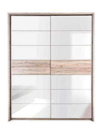 Schwebetürenschrank Rubio 8 Sandeiche weiß Hochglanz 170x210x61 cm