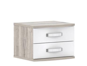 Nachttisch Rubio 5 Sandeiche weiß Hochglanz 51x42x46 cm Nachtkonsole
