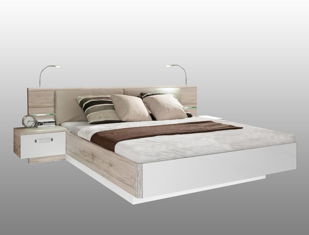 doppelbett rubio 2 sandeiche wei hochglanz 180x200 bett mit 2x nako wohnbereiche schlafzimmer. Black Bedroom Furniture Sets. Home Design Ideas
