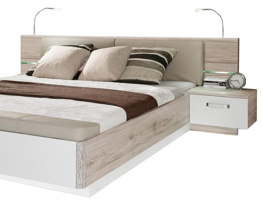 doppelbett rubio 3 sandeiche wei hochglanz 160x200 bett mit 2x nako wohnbereiche schlafzimmer. Black Bedroom Furniture Sets. Home Design Ideas