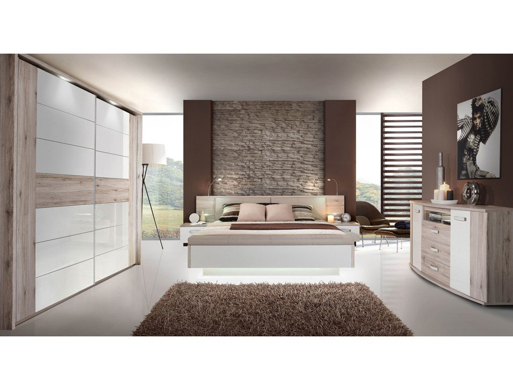 schlafzimmer rubio 21a sandeiche wei bett 2x nako schrank kommode led wohnbereiche schlafzimmer. Black Bedroom Furniture Sets. Home Design Ideas