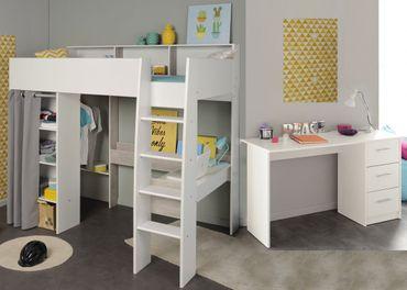 Jugendzimmer Tomke 14 weiß 205x193x132 cm Hochbett Schreibtisch Bett
