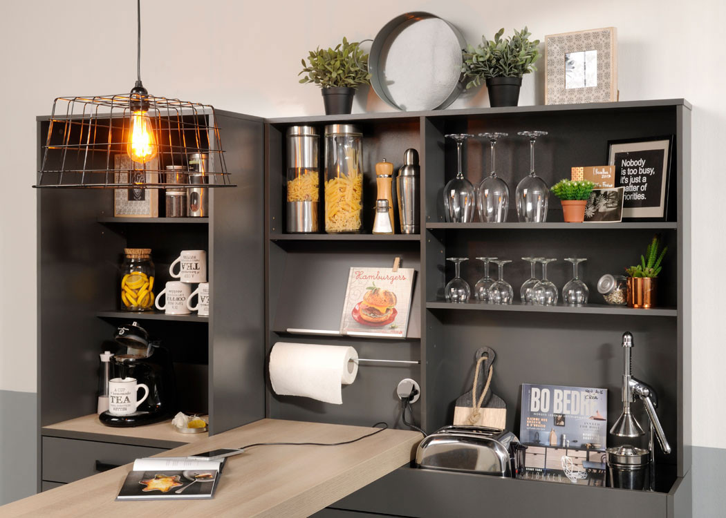 singlek che mona 3 grau 4 teilig k chenzeile schrank k chenschrank wohnbereiche k che. Black Bedroom Furniture Sets. Home Design Ideas