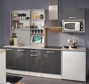 Singleküche Spectra 2 grau Hochglanz 7-teilig 245x208x60cm Küchenzeile