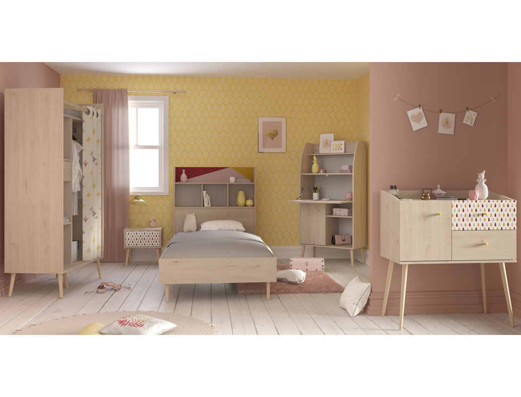kinderzimmer anja 2 eiche brooklyn 5 teilig jugendzimmer bett nako wohnbereiche kinder. Black Bedroom Furniture Sets. Home Design Ideas