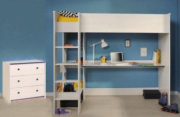 Kinderzimmer Snoopy 29a Kiefer-weiss 2-teilig Hochbett Bett Kommode