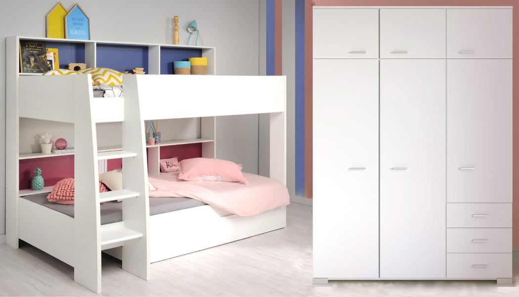 Kinderzimmer Tamina 12 Weiß Etagenbett Mit Schubkasten Kleiderschrank 001
